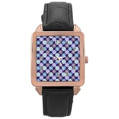 Snowflakes Pattern Rose Gold Leather Watch