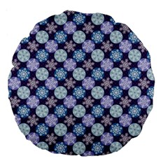 Snowflakes Pattern Large 18  Premium Flano Round Cushions