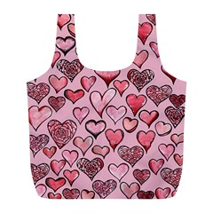 Artistic Valentine Hearts Full Print Recycle Bags (l)  by BubbSnugg