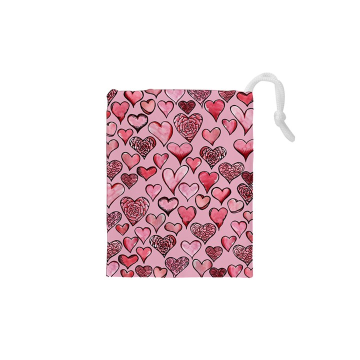Artistic Valentine Hearts Drawstring Pouches (XS)