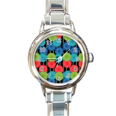 Vibrant Retro Pattern Round Italian Charm Watch