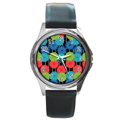 Vibrant Retro Pattern Round Metal Watch