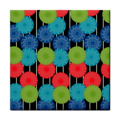 Vibrant Retro Pattern Tile Coasters