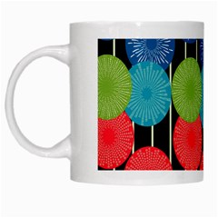 Vibrant Retro Pattern White Mugs