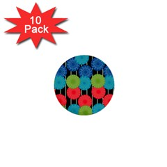 Vibrant Retro Pattern 1  Mini Buttons (10 Pack)  by DanaeStudio
