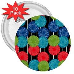Vibrant Retro Pattern 3  Buttons (10 Pack)  by DanaeStudio