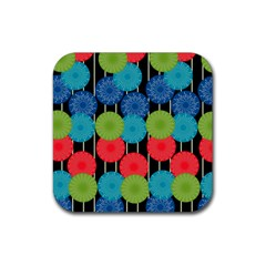 Vibrant Retro Pattern Rubber Square Coaster (4 pack)