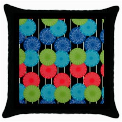 Vibrant Retro Pattern Throw Pillow Case (Black)