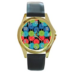 Vibrant Retro Pattern Round Gold Metal Watch