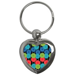 Vibrant Retro Pattern Key Chains (heart)  by DanaeStudio