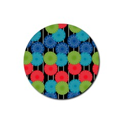 Vibrant Retro Pattern Rubber Round Coaster (4 pack)