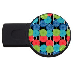 Vibrant Retro Pattern USB Flash Drive Round (2 GB)