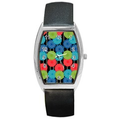 Vibrant Retro Pattern Barrel Style Metal Watch