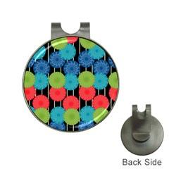Vibrant Retro Pattern Hat Clips with Golf Markers