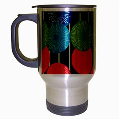 Vibrant Retro Pattern Travel Mug (Silver Gray)