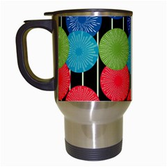 Vibrant Retro Pattern Travel Mugs (White)
