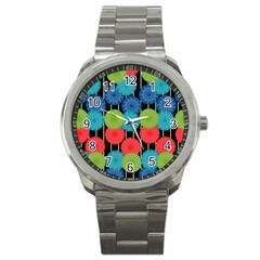 Vibrant Retro Pattern Sport Metal Watch by DanaeStudio