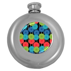 Vibrant Retro Pattern Round Hip Flask (5 oz)