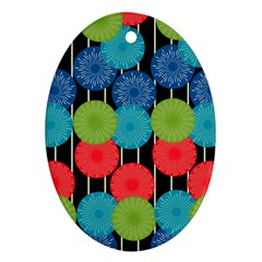 Vibrant Retro Pattern Oval Ornament (two Sides) by DanaeStudio
