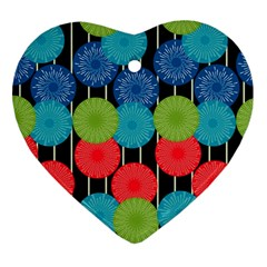 Vibrant Retro Pattern Heart Ornament (2 Sides)