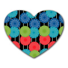 Vibrant Retro Pattern Heart Mousepads
