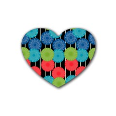 Vibrant Retro Pattern Rubber Coaster (Heart)