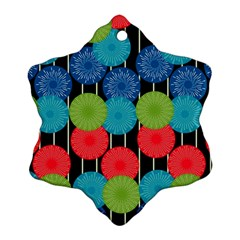 Vibrant Retro Pattern Snowflake Ornament (2-Side)