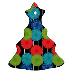 Vibrant Retro Pattern Christmas Tree Ornament (2 Sides)
