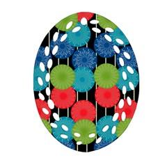 Vibrant Retro Pattern Ornament (Oval Filigree)