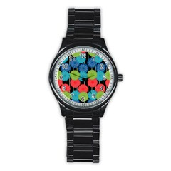 Vibrant Retro Pattern Stainless Steel Round Watch