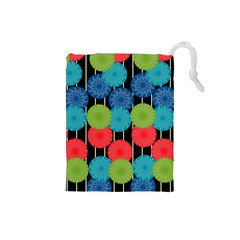 Vibrant Retro Pattern Drawstring Pouches (Small)