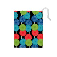Vibrant Retro Pattern Drawstring Pouches (Medium)