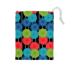 Vibrant Retro Pattern Drawstring Pouches (Large)