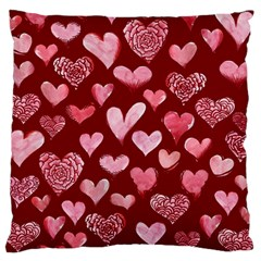 Watercolor Valentine s Day Hearts Large Cushion Case (two Sides) by BubbSnugg