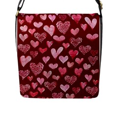 Watercolor Valentine s Day Hearts Flap Messenger Bag (l)  by BubbSnugg