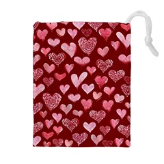 Watercolor Valentine s Day Hearts Drawstring Pouches (extra Large) by BubbSnugg