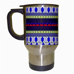Colorful Retro Geometric Pattern Travel Mugs (white) by DanaeStudio