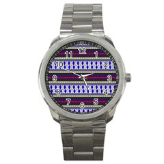 Colorful Retro Geometric Pattern Sport Metal Watch by DanaeStudio