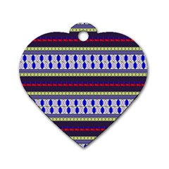 Colorful Retro Geometric Pattern Dog Tag Heart (two Sides) by DanaeStudio