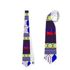Colorful Retro Geometric Pattern Neckties (one Side)  by DanaeStudio