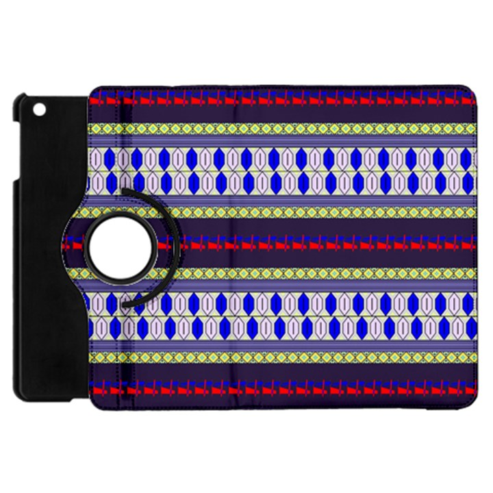 Colorful Retro Geometric Pattern Apple iPad Mini Flip 360 Case