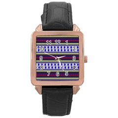 Colorful Retro Geometric Pattern Rose Gold Leather Watch  by DanaeStudio