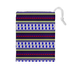 Colorful Retro Geometric Pattern Drawstring Pouches (large)  by DanaeStudio