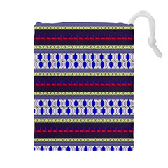 Colorful Retro Geometric Pattern Drawstring Pouches (extra Large) by DanaeStudio