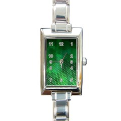 Ombre Green Abstract Forest Rectangle Italian Charm Watch by DanaeStudio
