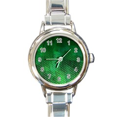 Ombre Green Abstract Forest Round Italian Charm Watch by DanaeStudio
