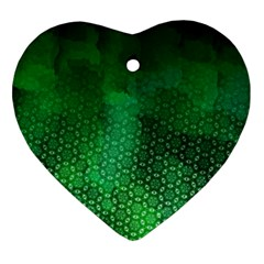 Ombre Green Abstract Forest Ornament (heart)  by DanaeStudio