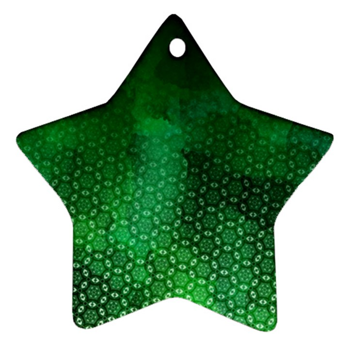 Ombre Green Abstract Forest Ornament (Star)