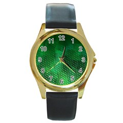 Ombre Green Abstract Forest Round Gold Metal Watch by DanaeStudio