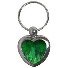 Ombre Green Abstract Forest Key Chains (heart)  by DanaeStudio